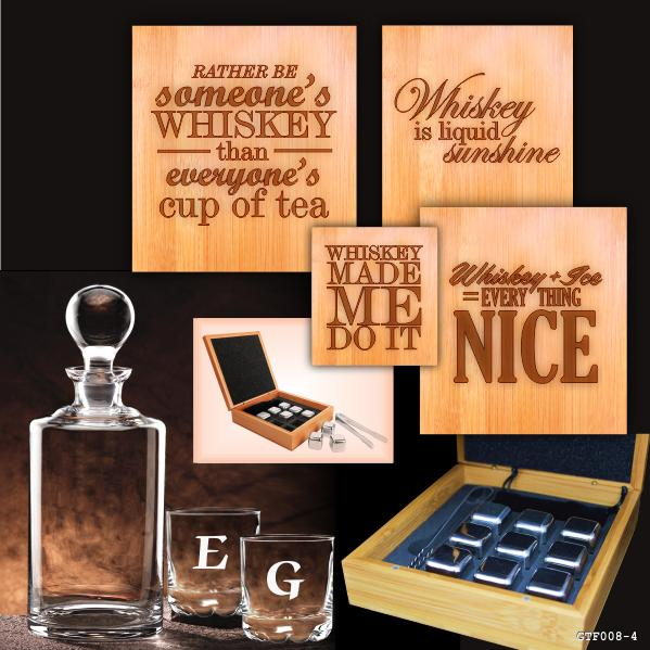 Whiskey stones in engraved box with decanter and 2 etched